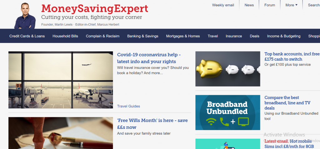 affiliate website money saving expert