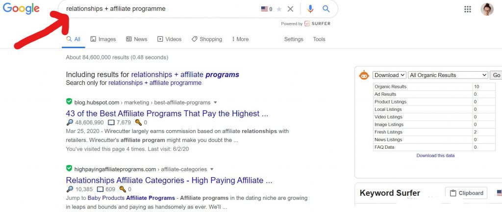 how to find affiliate links in Google