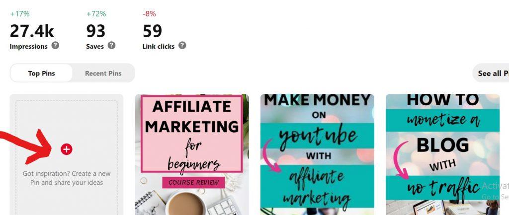 Creating an affiliate pin