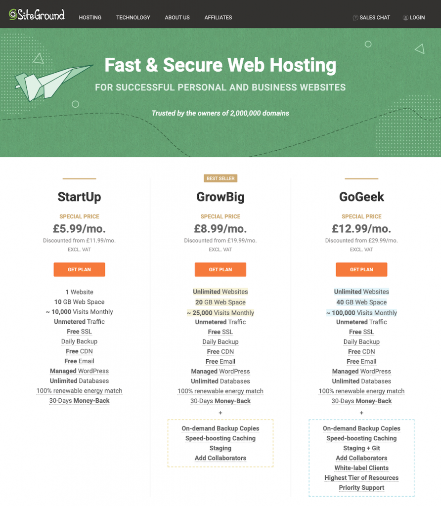 siteground hosting sign up